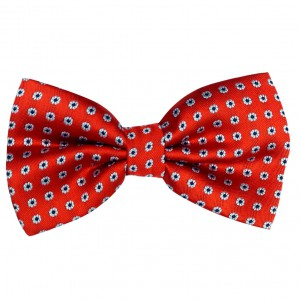 Poprin Red Mini Flower Microfiber Bow Tie