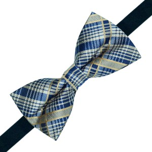 Galvestone Brown Blue Check Bow Tie