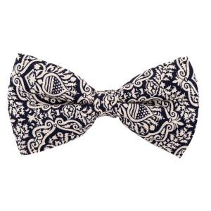 Blue Paisley print cotton Bow Tie