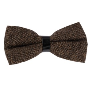 Dope Checkered Brown Wool Bow Tie
