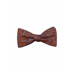 Orange with Blue Paisley Silk Bow Tie