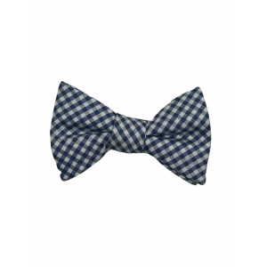 Blue and White Checkered silk Bow Tie