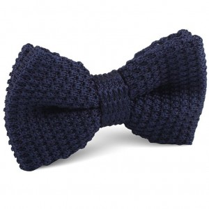 Solid Navy Blue Knitted Bow Tie