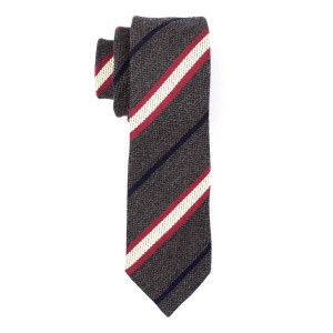 Wool Path Striped Grey And Maroon Cashmere Necktie