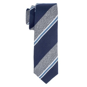 Short Cut Stripe Grey With Blue Cashmere Necktie