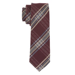 Jefferson Maroon Plaid Cashmere Necktie