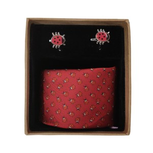 Beetal Red Necktie and Cufflinks Set