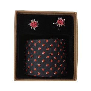 Beetal Black Necktie and Cufflinks Set