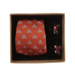 Bicycle Red Necktie and Cufflinks Set
