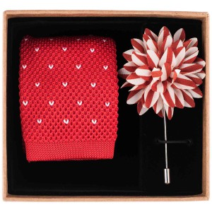 knight Dots - Red Knitted Skinny Necktie Combo Box