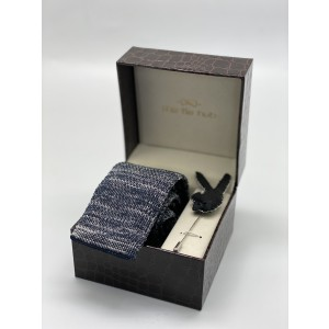 Constellation Solid Blue Knitted Necktie and Lapel Pin Combo Box