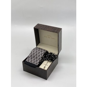 Aztecture Plaid Black And White Knitted Necktie and Lapel Pin Combo Box