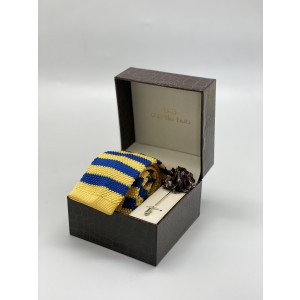 Rumbler Yellow and Blue striped knitted Necktie and Lapel Pin Combo Box
