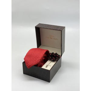 First Look Luxury Solid Red Knitted Necktie and Lapel Pin Combo Box