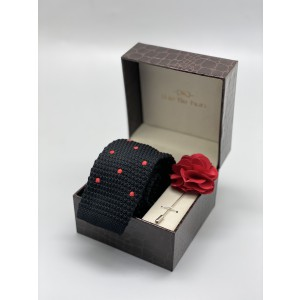 Sport Dots Black with Red Knitted Necktie and Lapel Pin Combo Box