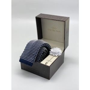 Bullet Pop Navy And White Slim Knitted Necktie and Lapel Pin Combo Box