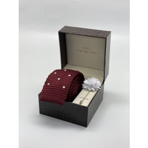 Sport Dots White Polka Dot In Maroon Knitted Necktie and Lapel Pin Combo Box
