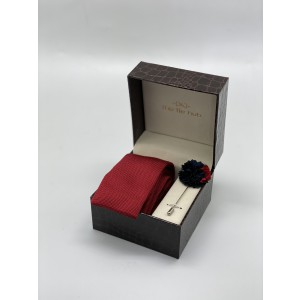 Tomato Maroon Knitted Necktie and Lapel Pin Combo Box