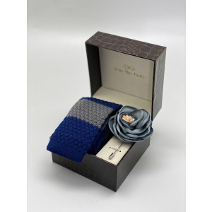 Blue/Grey Knitted Necktie and Lapel Pin Combo Box