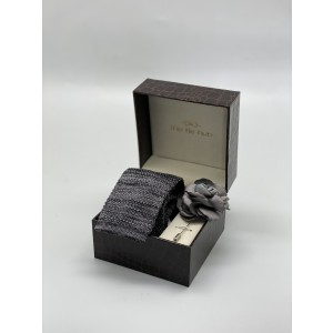 Constellation Solid Grey Knitted Necktie and Lapel Pin Combo Box