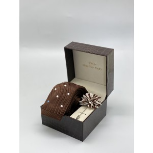 Sport Dots White and pink polka dot in Brown Necktie and Lapel Pin Combo Box