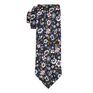 Barstock Blue and Pink Floral 100% Cotton Necktie