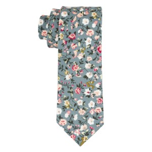 Sage Green Floral 100% Cotton Necktie