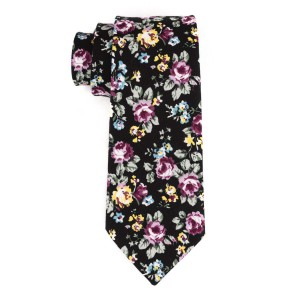 Springfield Black and Green Floral100% Cotton Necktie
