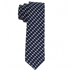 Honey Comb Navy Blue Cotton Slim Neck Tie By The Tie Hub