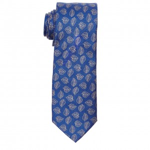 Navy Blue with Cream Banyan Leaf Slim Handmade 100% Cotton Necktie