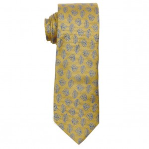 Golden Brown with Blue Banyan Leaf Slim Handmade 100% Cotton Necktie