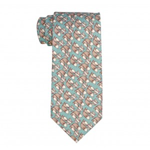 Teal with Brown Fox Regular Handmade 100% Cotton Necktie
