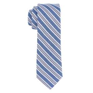 Dual Texture Blue Stripe 100% Cotton Necktie