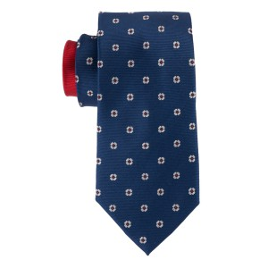 Dotted Floral Navy with Grey Floral 100% Silk Necktie