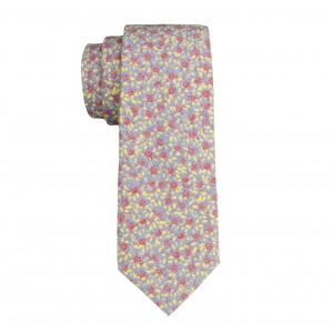 Winter Floral Denim Slim Necktie by The Tie Hub