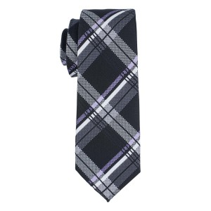 Motly Black and Purple Plaid Microfiber Necktie