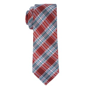 Maroon and Teal Checkerd Microfiber Necktie