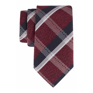 Maroon with Navy and White Grey Checkered 100% Microfiber Necktie