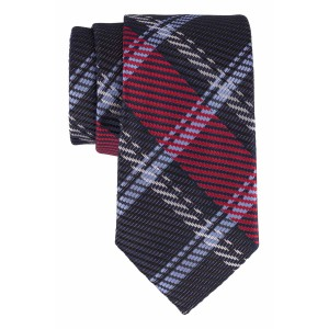 Navy with Power Blue, Grey, Maroon Checkered 100% Microfiber Necktie