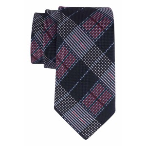 Navy with Grey, Light Blue, Maroon Checkered 100% Microfiber Necktie