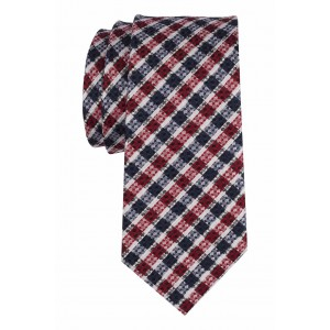 Bliss Red With Navy Checkered 100% Silk Necktie