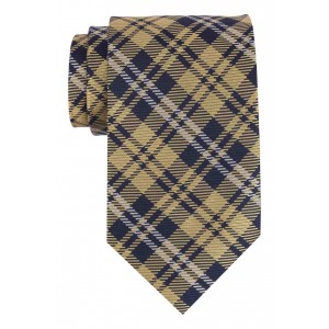 Winter Yellow and Blue Checkered 100% Silk Necktie