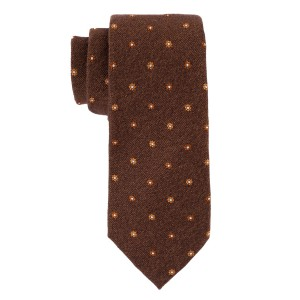 Free Fall Brown with Orange Floral 50% Silk and 50% Wool Necktie
