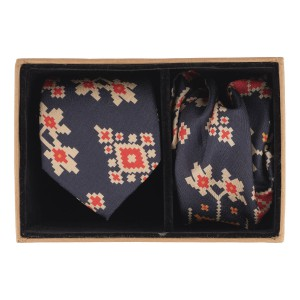Navy Blue Patola 60% Silk 40% Khadi Nektie and Pocket Square Combo