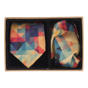 Multi Color Pixal 60% Silk 40% Khadi Necktie and Pocket Square Combo