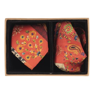 Orange Multiple Block 60% Silk 40% Khadi Necktie and Pocket Square Combo