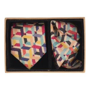 Criss cross Multicolor 60% Silk 40% Khadi Necktie and Pocket Square Combo
