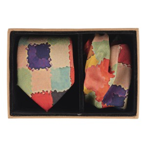 Multicolor square Oil paint print 60% Silk 40% Khadi Necktie and Pocket Square Combo