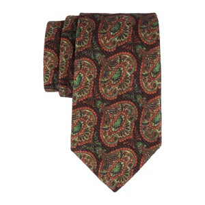 Brown and Green Floral 60% Silk 40% Khadi Necktie
