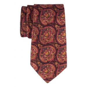 Brown and Yellow Floral 60% Silk 40% Khadi Necktie
